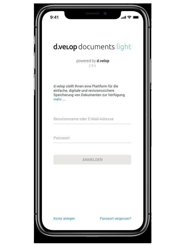 d.velop documents light in der mobilen Ansicht