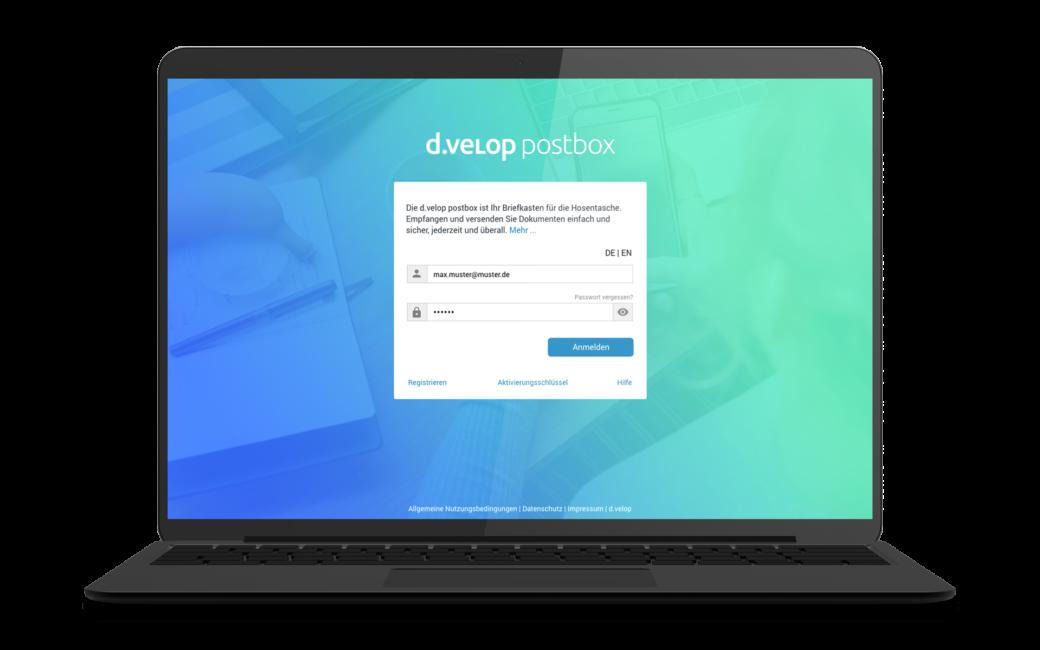 d.velop postbox Registrierung und Log-in