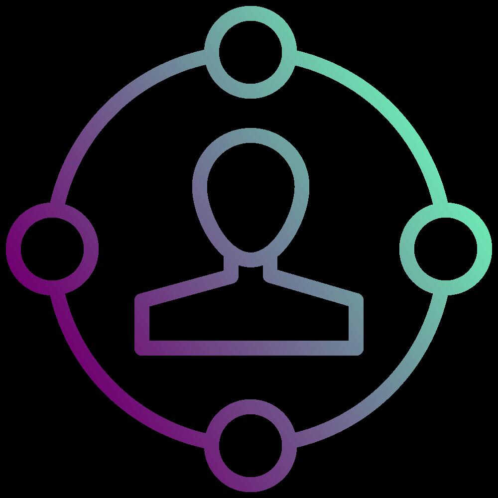 Expertise-Icon in der Farbe Lila mit Verlauf