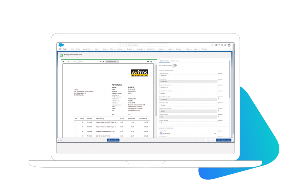 automatische Rechnungserkennung und Klassifizierung in Salesforce mit d.velop DMS