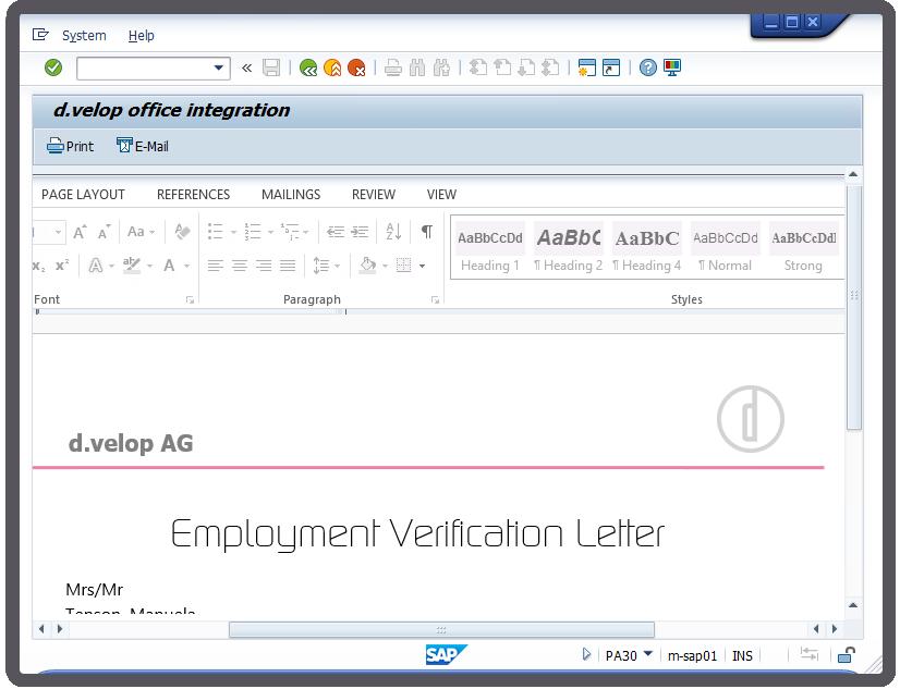 """""""Office Integration in SAP"""" - Screenshot"""