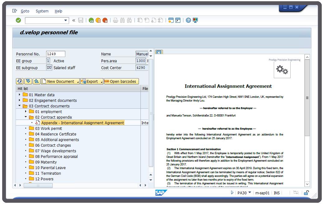 """""""Pesonnel Folder in SAP"""" - Screenshot"""