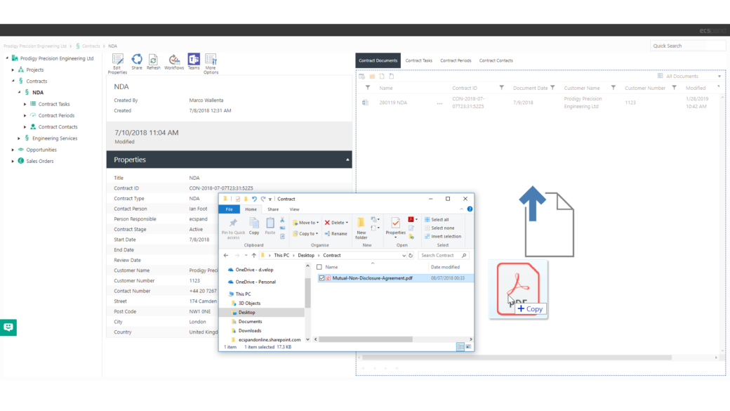 ecspand center features sharepoint drag and drop-screenshot