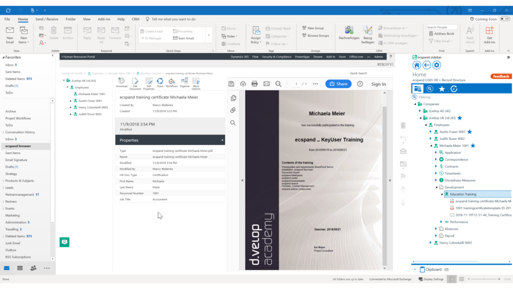 ecspand center features sharepoint outlook integration-screenshot