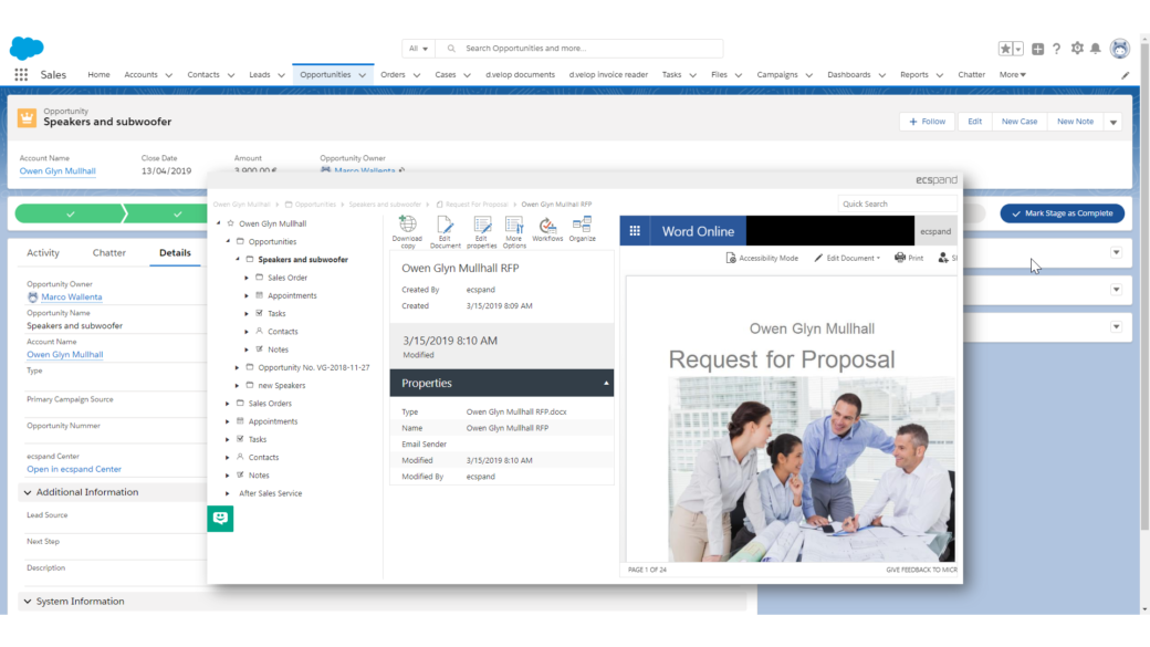 ecspand center features sharepoint salesforce integration-screenshot