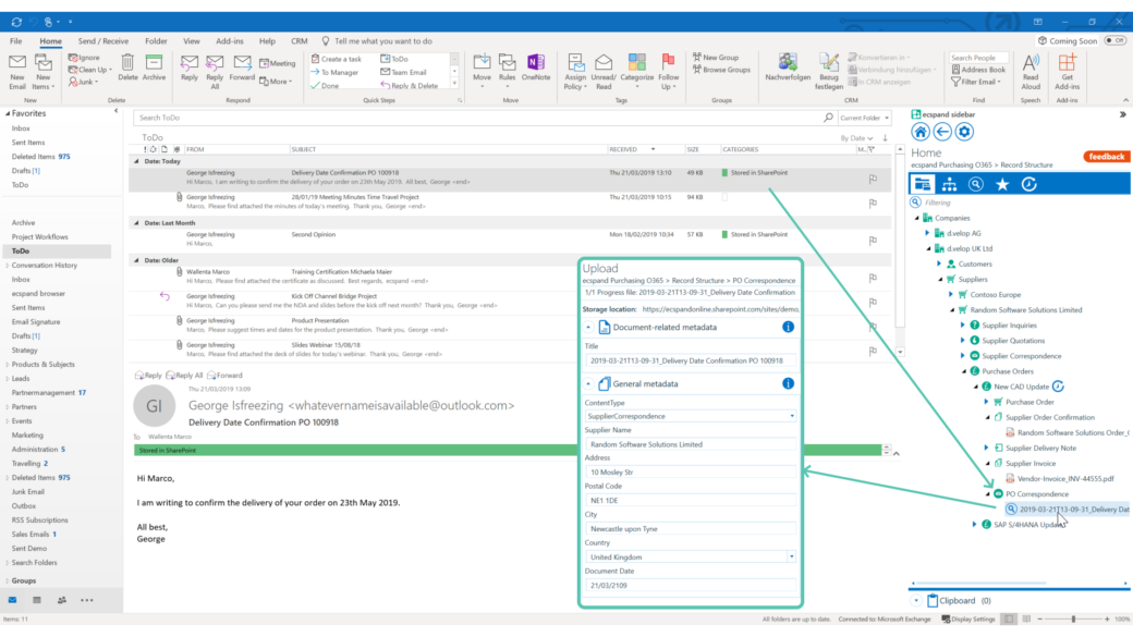 ecspand sidebar integrated in outlook automated metadata-screenshot