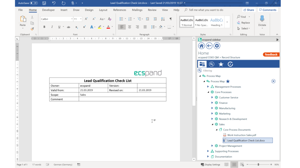 ecspand sidebar integrated in word - screenshot