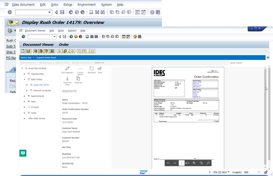 Screenshot of ecspand SAP Integration