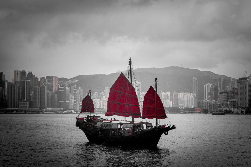 boat floating in the waters of Hongkong