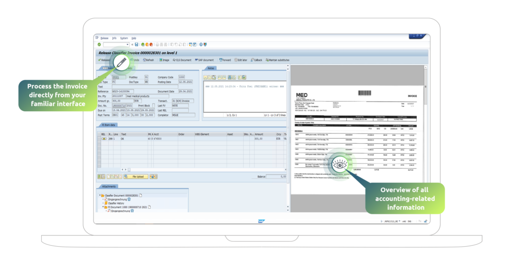 SAP electronic invoice processing, checking and approval with SAP Fiori